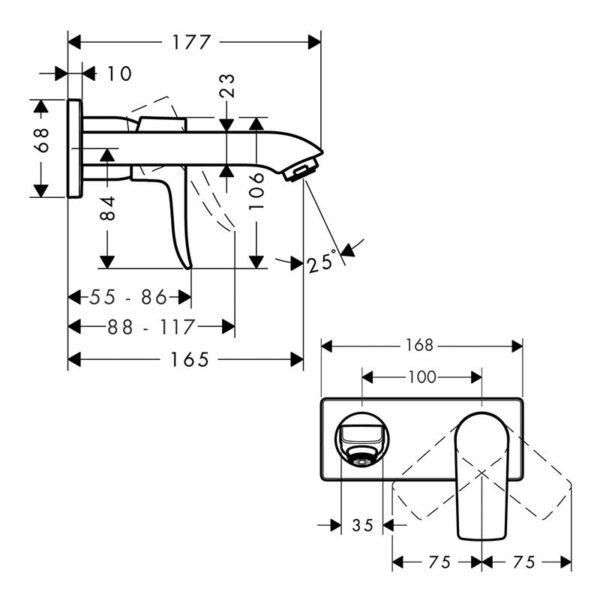 Jednouchwytowa bateria umywalkowa Hansgrohe Metris 1